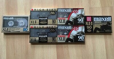 MAXELL XLII 90, XLII-S 90 Black Magnetite Epitaxial Sealed Japan LOT OF 6