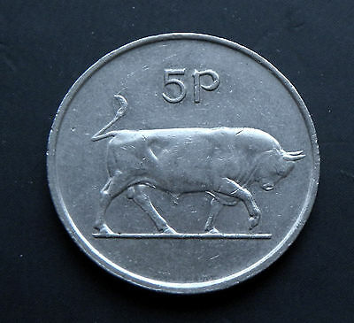 5 Pence Ireland 1982, Bull - Large Type #5295