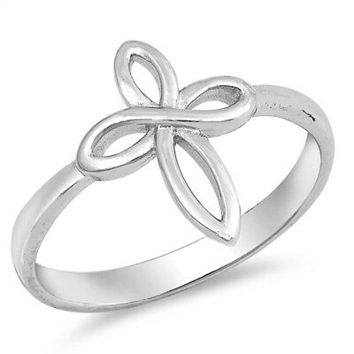 Plain Cross Purity Love Band .925 Sterling Silver Ring Sizes 5-10