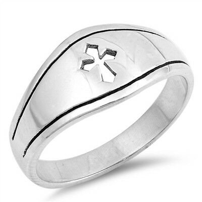 Solid Medieval Cross Signet Ring .925 Sterling Silver Ring Sizes 5-12