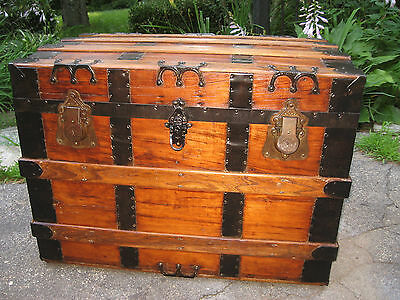 "Antique Flat Top Slat Steamer Trunk 31"" Stage Coach Chest Coffee Table Nice"