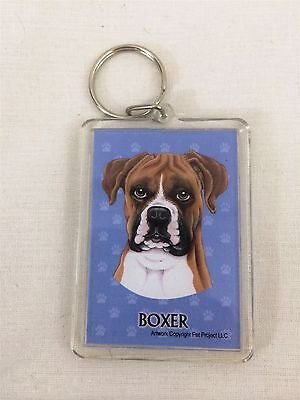 "Boxer Dog Key Ring Chain 2 Sided 2""X3"""