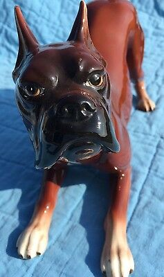 Vintage Large Ceramic Boxer Dog Figurine 1980s