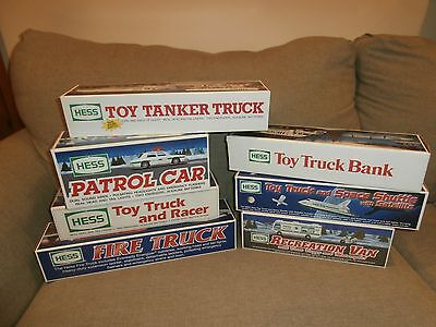 Lot of 7 Different Hess Toy Trucks Excellent Condition in Boxes Pre-Owned
