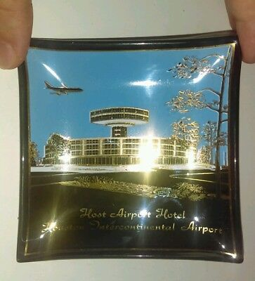 Vintage Host Hotel Houston Intercontinental Airport Advertising Smoke Glass Dish