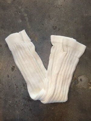 Vtg DEADSTOCK Ivory Orlon Thick Fuzzy Knit Knee Hi School Girl Dance Socks