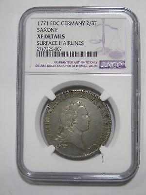 1771 Germany 2/3 Thaler Saxony Ngc Xf Details Old World Coin Collection Lot W@w