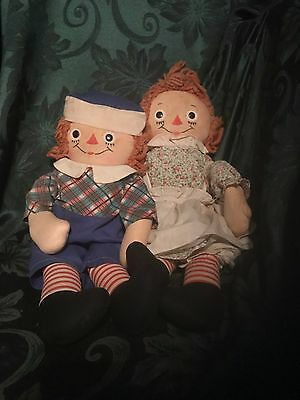 """Vintage 19"""" Johnny Gruelle Raggedy Ann & Andy Dolls Original Clothes, Tags 1947"""