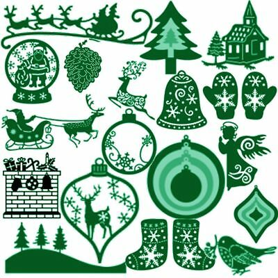 Merry Christmas Embossing Stencil Scrapbooking Cutting Dies Cards Making