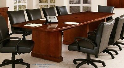 NEW Cherry Wood Foot Boat Shaped Or Rectangle CONFERENCE TABLE - 12 foot boat shaped conference table