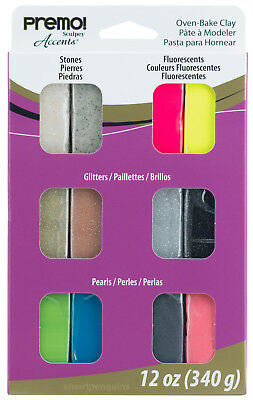 Sculpey Premo! Accents Oven Bake Polymer Clay Mixed Effects Set 12 Colors