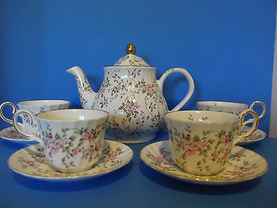 Arthur Wood & Son Staffordshire England Tea Pot & Allyn Nelson Tea cups/Saucers