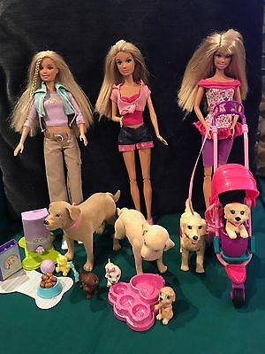 Barbie Dolls With Dogs Taffy & Tanner Puppies Cats Food Lots Of Accesories