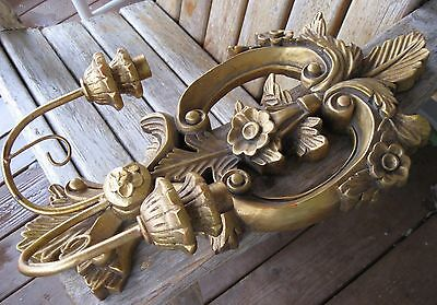 """19"""" Antique Italy? Wood/Gesso Shabby Wall Sconce Candle Holder Vintage French"""