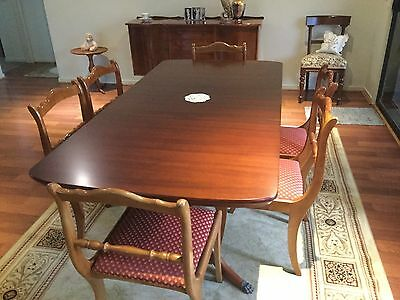 Extendable Regency Style Dining Table, 6 Matching Chairs And Buffet