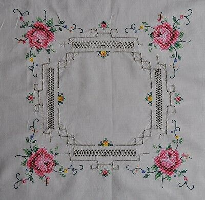 Vintage Hand Cross Stitched Tablecloth - 83cm Square - NEW