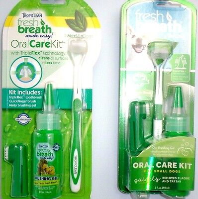 Tropiclean Dog Puppy Toothbrush Oral Care Kit for Fresh Breath Plaque Tartar