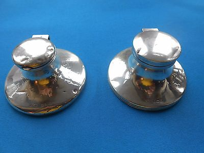 Two Antique Hm Solid Silver Inkwells. Desk Top Items. Almost A Pair