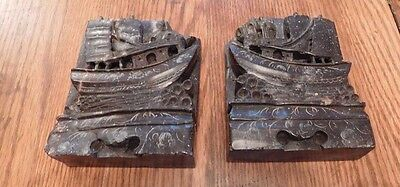 Soapstone bookends Nautical Chinese Junk Boats hand carved Asian sailing ships
