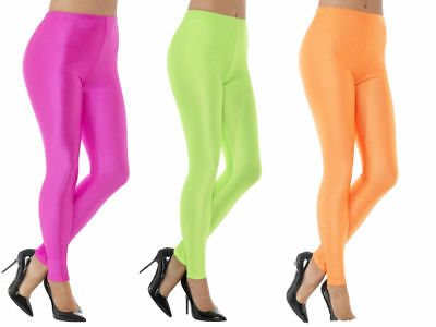 80s Leggings Neon Pink Green Orange Spandex Ladies Fancy Dress