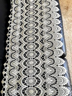 VTG Embroidery Needle Filet Cutout Lace Tablecloth Runner Fabric Trim 22x107