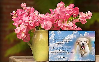"Pet Dog Cat Memorial Tribute Gravestone Headstone Slate With Verse 12x8"" Plaque"