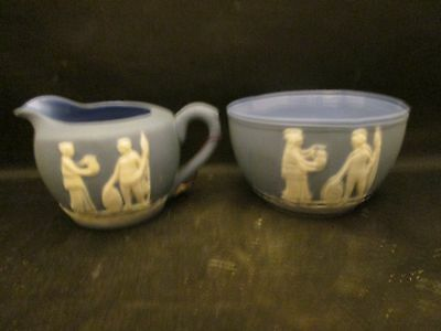 Wedgwood STYLE Blue & White Creamer and Open Sugar Bowl made in Japan