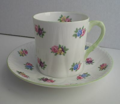 Shelley ROSE PANSY FORGET ME NOT Demitasse Cup & Saucer Dainty Mocha
