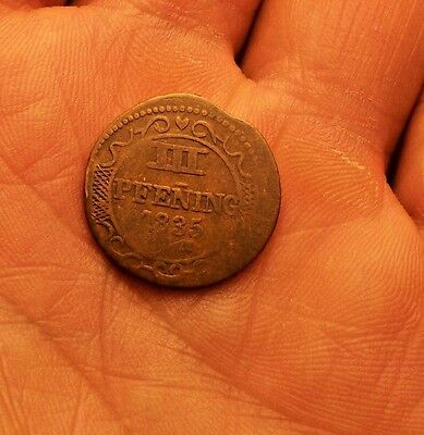 ++++  1835 Germany 3P 111  Three Pfening  Wismar Early Copper  ++++