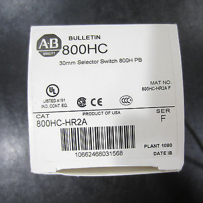 Allen-Bradley Selector Switch 2-position maintained 800HC-HR2A sereis F