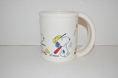 Vintage 1960's Snoopy Peanuts mug features Woodstock, Snoopy playing sports