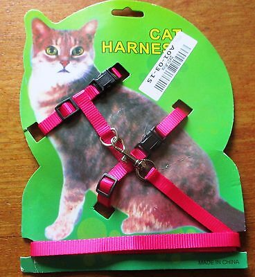 Cat -Rabbit-Kitten Adjustable Harness & Lead HOT PINK- Adjustable Nylon Pet Cat