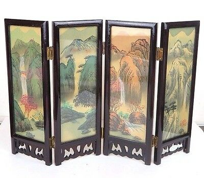 "Chinese Folding Glass Screen Picture Art Flowers Birds Landscape 9.5"" x 13"" New"