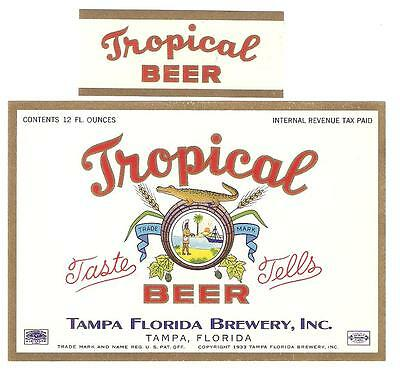 Tampa FL Brewery Tropical Beer label with neck IRTP Florida