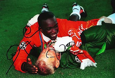 Peter Schmeichel & Dwight Yorke Signed 12X8 Photo Manchester United AFTAL (9072)