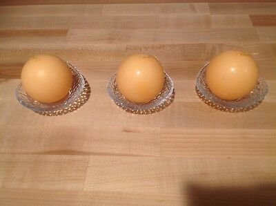 PARTYLITE CLARITY Tealight Mini Ball Trio Glass Candle Holders w/ 3 Ball Candles