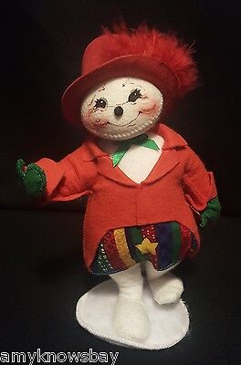 """Annalee Mobilitee Doll 7"""" Snowy Lady Snowman Christmas Hat Red Coat 751400"""