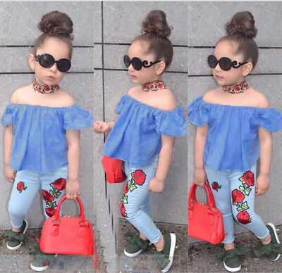 Kids Baby Girl Outfit Off Shoulder Shirt T-shirt+Long Pant Clothes 3-4Year D2R