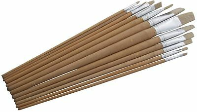 12 Piece Flat Tip  Xl Artist Paint Brush Set Professional Quality Art And Craft