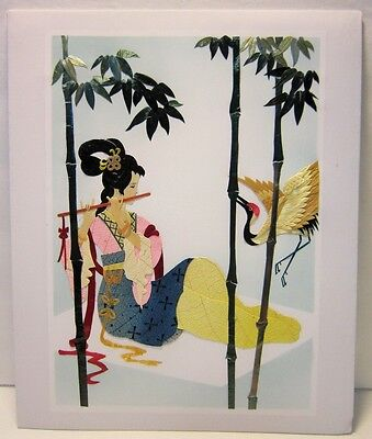 Vintage Chinese Art Collectible Hand Cut Painted Wheat Stalk Silk Bamboo Crane