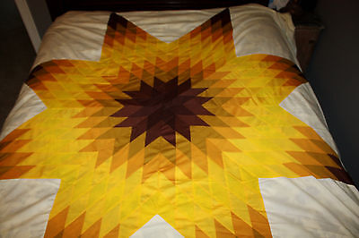 "Vintage Star Burst Retro Quilt Top ~ Cotton Hand Sewn ~ 88"" by 104"" ~ Autumn"