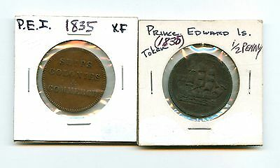 Lot of 2 1835 Canada Prince Edward Island Commerce Tokens #99195 R