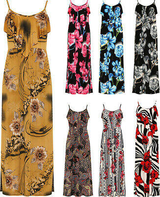 Ladies Strappy Floral Print Frill Layered Long Maxi Summer Nice Casual New Dress