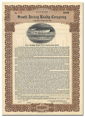 South Jersey Realty Company Bond Certificate (Ocean Vignette)