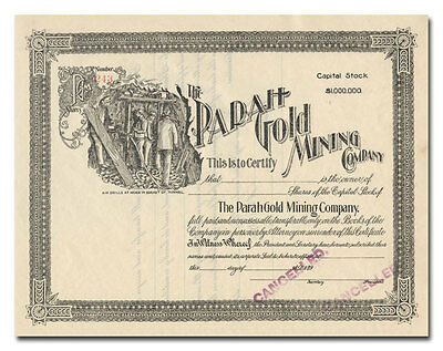 Parah Gold Mining Company Stock Certificate (Colorado)
