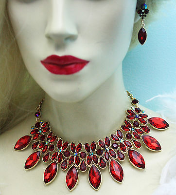 Statement Necklace Rhinestone Crystal Earrings Red Gold Tone Prom Bridal Jewelry