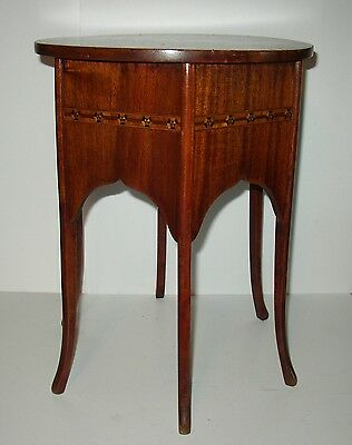 Antique/Vintage 6-Leg Petite Wooden Occasional Table w/ Inlaid Side Design NICE