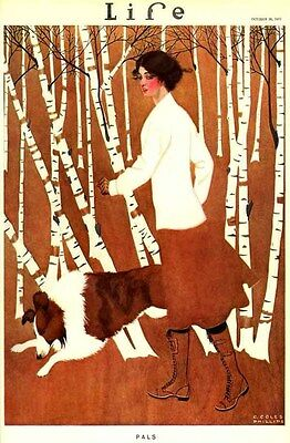 1911 Sporting Outdoor Exercise Gal Collie Dog Walking Cover Art Poster 318503