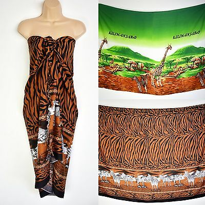 Kilimanjaro Animals Zebra African Sarong, Kikoy Pareo Cover Up Scarves, Ethnic T