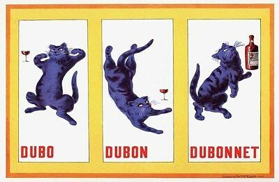 1937 Dubonnet Wine Brewery Drunk Cat French Bar Restaurant Deco Poster 319068